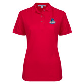 Ladies Easycare Red Pique Polo-Primary Logo