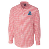 Cutter & Buck Cardinal Red Stretch Gingham Long Sleeve Shirt-Primary Logo