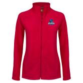 Ladies Fleece Full Zip Red Jacket-Primary Logo