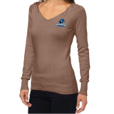 Ladies Fuse Mocha V Neck Sweater-Primary Logo