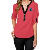 Ladies Posh Coral 3/4 Sleeve Blouse-Primary Logo