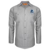 Red Kap Light Grey Long Sleeve Industrial Work Shirt-Primary Logo