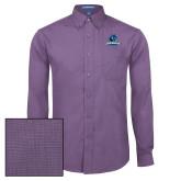 Mens Deep Purple Crosshatch Poplin Long Sleeve Shirt-Primary Logo