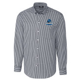 Cutter & Buck Charcoal Stretch Gingham Long Sleeve Shirt-Primary Logo