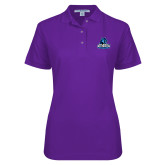 Ladies Easycare Purple Pique Polo-Primary Logo