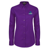Ladies Purple Twill Button Down Long Sleeve-Primary Logo