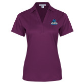 Ladies Purple Performance Fine Jacquard Polo-Primary Logo