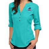 Ladies Glam Turquoise 3/4 Sleeve Blouse-Primary Logo