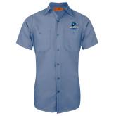 Red Kap Postman Blue Short Sleeve Industrial Work Shirt-Primary Logo