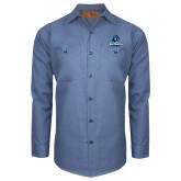 Red Kap Postman Blue Long Sleeve Industrial Work Shirt-Primary Logo
