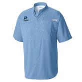 Columbia Tamiami Performance Light Blue Short Sleeve Shirt-Primary Logo