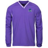Colorblock V Neck Purple/White Raglan Windshirt-Primary Logo