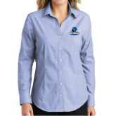 Ladies Light Blue Crosshatch Poplin Long Sleeve Shirt-Primary Logo