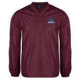 V Neck Maroon Raglan Windshirt-Primary Logo