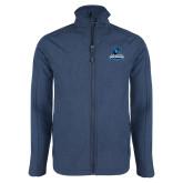 Navy Heather Softshell Jacket-Primary Logo