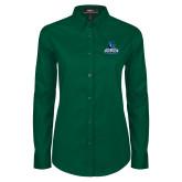 Ladies Dark Green Twill Button Down Long Sleeve-Primary Logo
