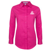 Ladies Tropical Pink Long Sleeve Twill Shirt-Primary Logo