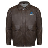 Brown Leather Bomber Jacket-Primary Logo