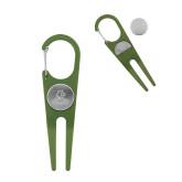 Green Aluminum Divot Tool/Ball Marker-Primary Logo Engraved
