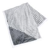 Field & Co Luxurious Grey Chevron Striped Sherpa Blanket-Primary Logo Engraved