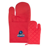 Quilted Canvas Red Oven Mitt-Primary Logo
