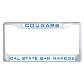Metal License Plate Frame in Chrome-Cougars