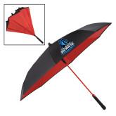 48 Inch Auto Open Black/Red Inversion Umbrella-Primary Logo