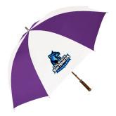 64 Inch Purple/White Umbrella-Primary Logo