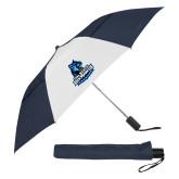 42 Inch Slim Stick Navy/White Vented Umbrella-Primary Logo