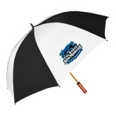 62 Inch Black/White Umbrella-Secondary Logo