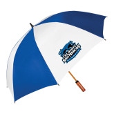 62 Inch Royal/White Umbrella-Secondary Logo
