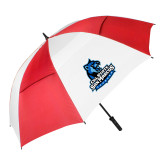 62 Inch Red/White Vented Umbrella-Primary Logo