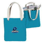 Allie Turquoise Canvas Tote-Primary Logo