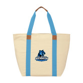 Natural/Light Blue Saratoga Tote-Primary Logo