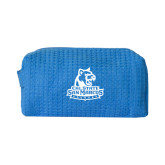 Small Aqua Waffle Cosmetic Bag-Primary Logo
