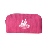 Small Hot Pink Waffle Cosmetic Bag-Primary Logo