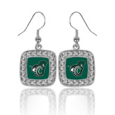 Crystal Studded Square Pendant Silver Dangle Earrings-Spartan w/ Shield