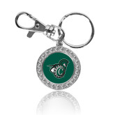 Crystal Studded Round Key Chain-Spartan w/ Shield