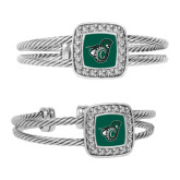 Crystal Studded Cable Cuff Bracelet With Square Pendant-Spartan w/ Shield