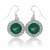 Crystal Studded Round Pendant Silver Dangle Earrings-Spartan w/ Shield