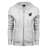ENZA Ladies White Fleece Full Zip Hoodie-Spartan w/ Shield