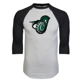 White/Black Raglan Baseball T-Shirt-Spartan w/ Shield
