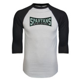White/Black Raglan Baseball T-Shirt-Wordmark
