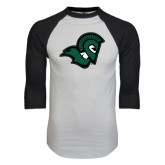White/Black Raglan Baseball T-Shirt-Spartan Head
