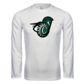 Performance White Longsleeve Shirt-Spartan w/ Shield