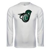 Syntrel Performance White Longsleeve Shirt-Spartan w/ Shield