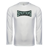 Performance White Longsleeve Shirt-Wordmark