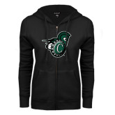 ENZA Ladies Black Fleece Full Zip Hoodie-Spartan w/ Shield