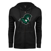 ENZA Ladies Black Fleece Full Zip Hoodie-Spartan Head