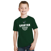 Youth Dark Green T Shirt-Basketball Design